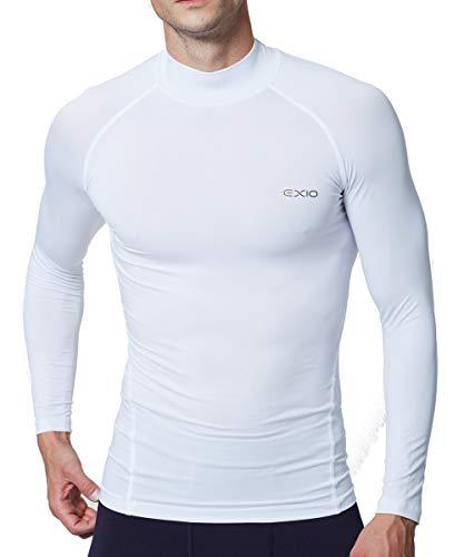 EXIO Japan Men's Mock Turtleneck Compression Shirt Cool&Dry Baselayer Top EX-T02 (2X-Large, EXT02-WH)