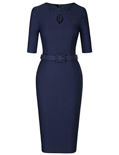 MUXXN Women's Formal Button Up Hold Decoration Business Office Pencil Dress (Blue XXL)