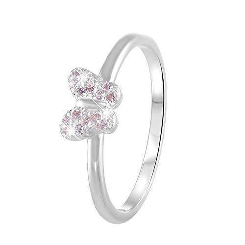 Lucardi - Kinderring aus 925 Silber, Schmetterling mit rosafarbenem Zirkonia - für Mädchen - Rosa