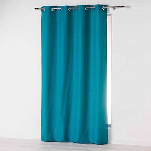 douceur dintérieur Absolu Rideau a Oeillets 140 x 260 cm Microfibre Unie ABSOLU Polyester, Bleu, 260x140 cm