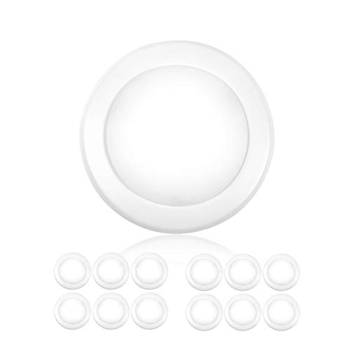 """PARMIDA (12 Pack) 5/6"""" Dimmable LED Disk Light Flush Mount Recessed Retrofit Ceiling Lights, 15W (120W Replacement), 5000K, Energy Star & UL-Listed, Installs into Junction Box Or Recessed Can, 1050lm"""