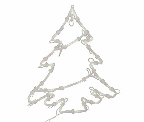 * Leuchtendes Fensterbild mit 35 LEDs | Fünf Motive: Engel Baum Rentier Stern Sternschnuppe | Netzanschluss + Saugnapf | Fensterdeko Weihnachtsdeko Weihnachtsleuchte (Baum)