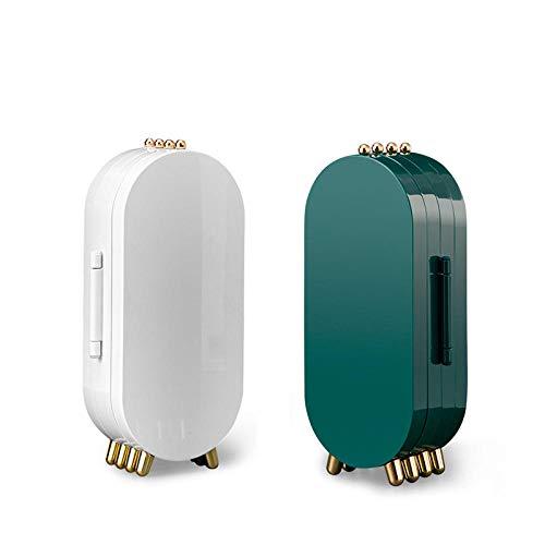Wearego Paquete de 2 de gran capacidad multicapa Joyero de escritorio a prueba de polvo plegable Caja Joyero portátil pequeño viaje Caja de Joyas para pulseras / anillos / collar (verde + blanco)