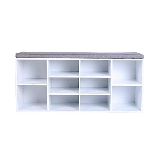 Heute Zapatero zapatero con 10 compartimentos para la entrada de la sala de estar (104 x 30 x 48 cm), color blanco
