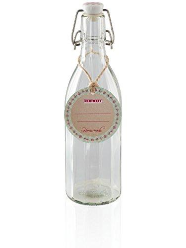 Leifheit Flasche Facette 500ml, Einmachflasche mit Bügelverschluss, Glasflasche ideal für Selbstgemachtes, Öle und Essig, Likörflasche, Bügelflasche, spülmaschinengeeignet, made in germany