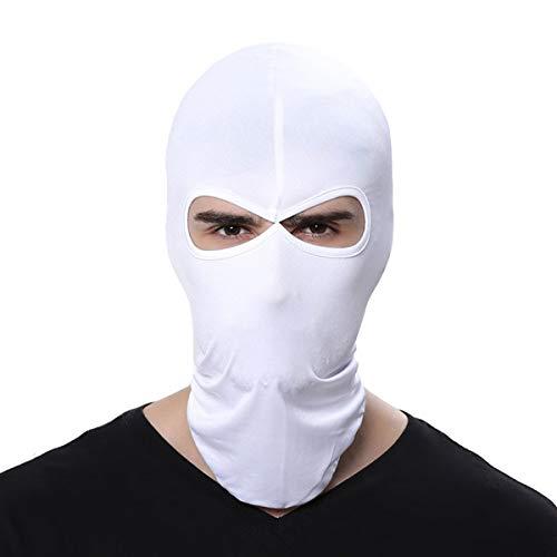Fenti Gesichtsschutzmaske/ Facekini aus Lycra mit 2Ausschnitten, Einheitsgröße, für Extremsport/ Ski/ Surf/ Fahrrad/ Motorrad/ Airsoft/ Paintball L weiß