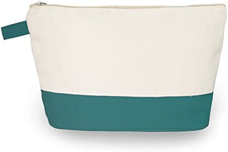 Cotton Canvas Two Tone Cosmetic Bag Make Up Clutch Bag 10 W x 6 H Teal Canvas Bottom product image