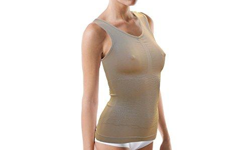 Slank shirt tot 1 maat met push-up effect - beige, XL-XXL