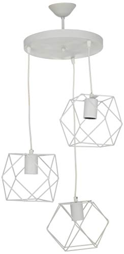 Homemania 62671 Lámpara de Suspensión Zambak, Lámpara de 3 Luces, Luz de Techo, Metal, Blanco, 30 x 30 x 110 cm, 3 x E27, 60W