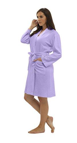 CityComfort Bata de algodón Puro Bata de Mujer Gofono Kimono Ligero para Mujer Traje (L, Lila)