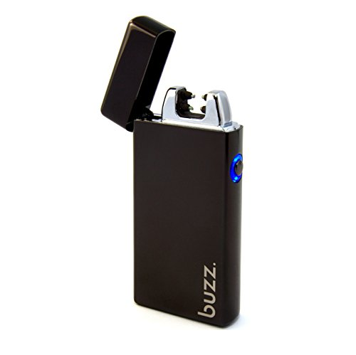Buzz. USB Feuerzeug - Elektrofeuerzeug - Lichtbogen Feuerzeug aufladbar - elektrisch aufladbar mit Akku - Laser, Tesla Lighter, Geschenk, Batterie, schwarz