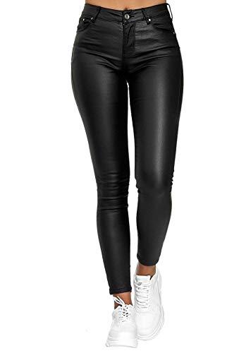 Pantalones Casuales De Cuero De Color SóLido De Moda Pantalones De Pie Pantalones CáLidos para Damas Pantalones Ajustados Sexis De Cintura Alta