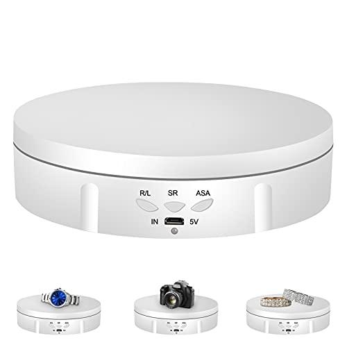 Napacoh Piatto girevole elettrico, girevole a 360 gradi, per fotografia, piattaforma girevole automatica, perfetto per immagini a 360 gradi, visualizzazione del prodotto, porta orologi, bianco
