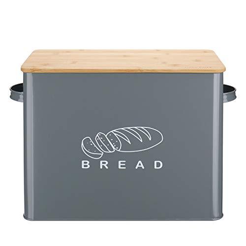 G.a HOMEFAVOR Brotkästen Brotbox aus Metall mit Schneidebrett, Brotdose Aufbewahren in Grau, 39x17.5x25.3 cm