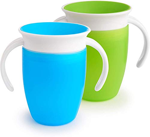 Munchkin Miracle 360 Trainer Cup, Green/Blue, 7 oz/207 ml, 2 Pack