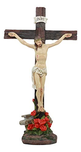 Ebros Jesus Christ On The Cross With Rose of Sharon Base Decorative Crucifix Statue 15.25