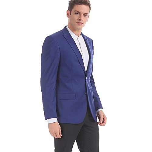 Arvind Men Blue Regular Fit Textured Blazer