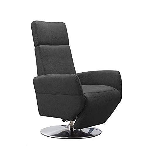 Cavadore Cobra - Sillón de TV con 2 Motores eléctricos y batería (función Relax, función reclinable, ergonomía L, 71 x 112 x 82 cm, imitación de Piel), Color Gris Oscuro