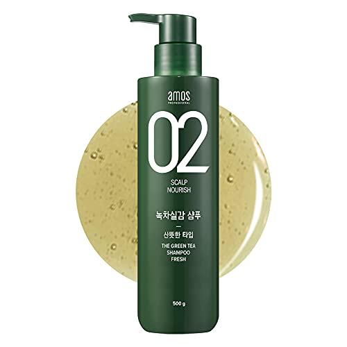 AMOS PROFESSIONAL The Green Tea Shampoo [Fresh - For Oily Scalp] 17.6oz (500g)   Anti-Thinning & Anti- Hair Loss Shampoo for Hair Growth and Cleanse Excess Sebum   Korean Hair Salon Brand