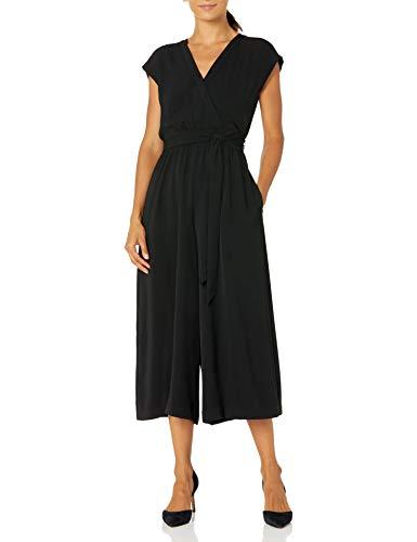 Eliza J Women's Petite Faux WRAP Crop Jumpsuit Dresses, Black, 8
