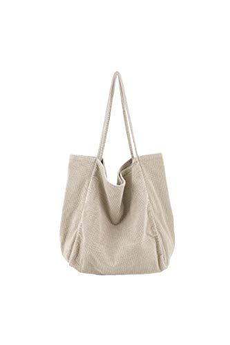 Ulisty Damen Groß Cord Tragetasche Retro Schultertasche Beiläufig Einkaufstasche Mode Handtasche Aprikose