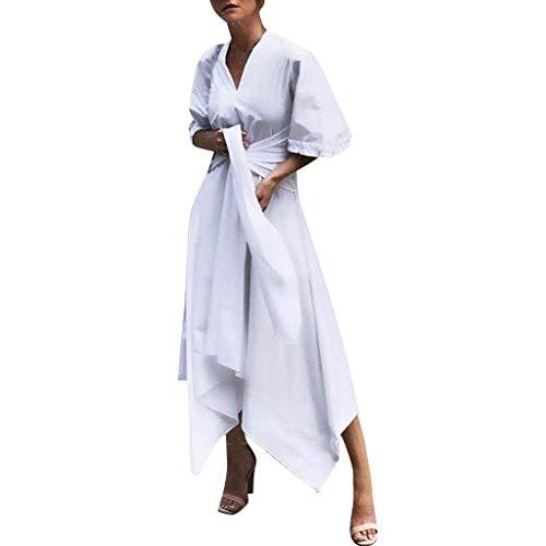 Susenstone Robe Longue Femme Ete Chic pour SoiréE Sexy Mode PS Cher Manches Courte Grand Taille Coton Et Lin Maxi Long Dress (L(EU38), Blanche)