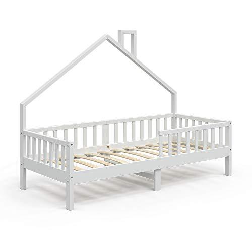 VitaliSpa Hausbett Kinderbett Spielbett Noemi 90x200cm Rausfallschutz (Weiß, Bett)