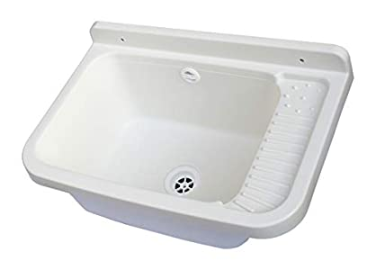 Adventa - Lavabo de Pared de Resina para Exterior, 60 x 40 x 28 cm, Color Blanco, 59 x 39 x 28 cm