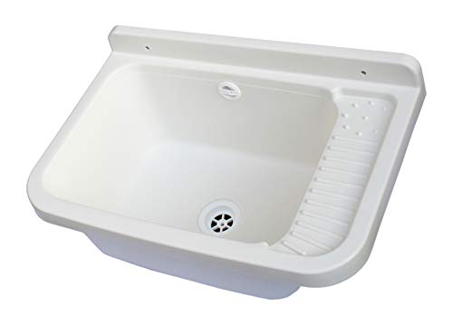 Adventa - Lavabo de Pared de Resina para Exterior, 50 x 35 x 24 cm, Color Blanco