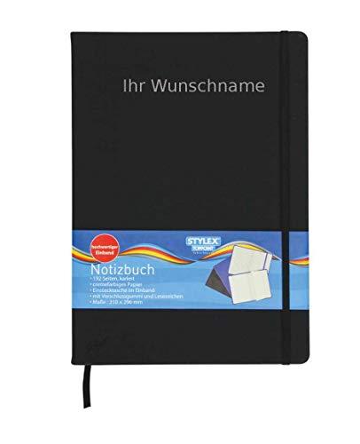 Notizbuch 192 Seiten kariert 210x2Notizbuch mit Gravur / Kladde / 192 Seiten / kariert / DIN A4 / Farbe: schwarz