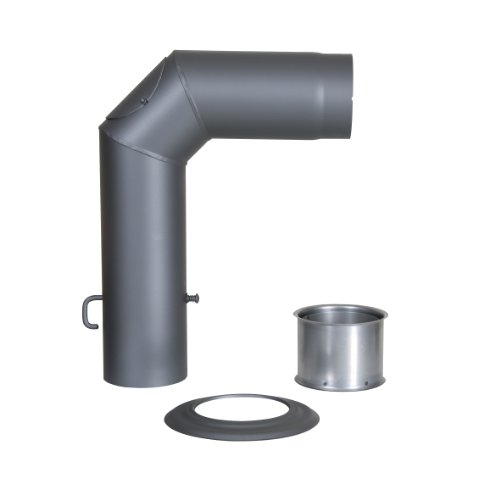 Kamino - Flam – Juego de tubos para chimenea, Set de tubos para estufa de leña (Codo con puerta y válvula, adaptador de reducción, rosetón) – EN 1856 – 2 - gris