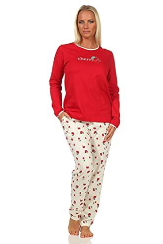Süsser Damen Schlafanzug Langarm Pyjama mit Kirschen als Motiv - 112 201 90 535, Farbe:rot, Größe:36-38