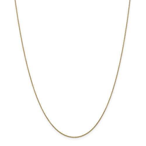 14k Yellow Gold .9mm Link Cable Spband Ring Band Clasp Chain Necklace 14 Inch Pendant Charm Fine Jewellery For Women Gifts For Her