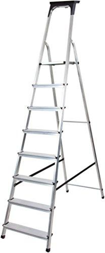 Brennenstuhl Haushaltsleiter aus Aluminium mit Arbeitsschale (Alu-Stehleiter mit 8 Stufen, Traglast max. 150 kg)