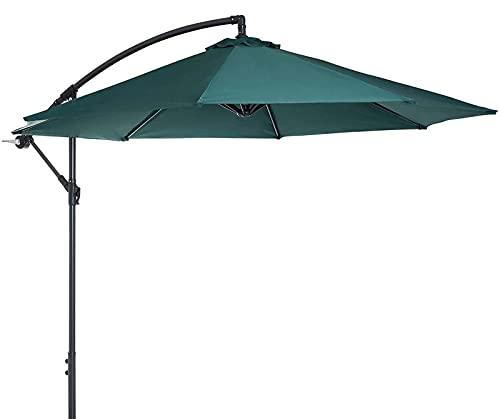 QDY -Sombrilla de plátano para jardín de 3 M / 10 pies, sombrilla voladiza para Patio, toldo de Sombra para Colgar al Aire Libre con manivela para Piscina de jardín y Patio Trasero,3 Green