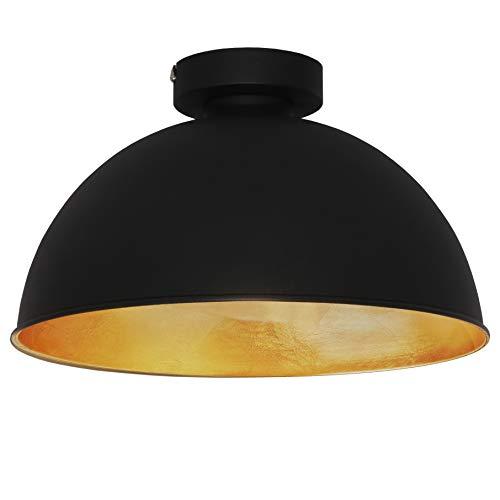 B.K.Licht I Deckenleuchte Retro I Deckenlampe Vintage I I Ø31cm I Schwarz-Gold I ohne E27 Leuchtmittel I Goldener Lampenschirm