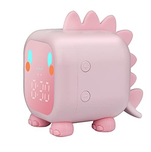 ZKIAH Wecker Kinder Dinosaurier, Digital Kinderwecker für Mädchen Jungen Lichtwecker Digitaluhr Nachtlicht LED Wecker (Rosa)