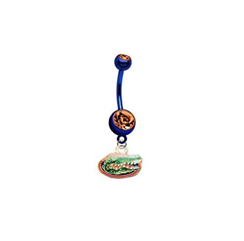 "Florida Gators ""Glitter Logo"" PREMIUM Blue w/ Orange Gem Titanium Anodized Sexy Belly Navel Ring"