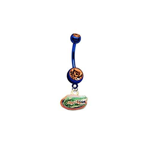 "Florida Gators ""Glitter Logo"" PREMIUM Blue w/ Orange Gem Titanium Anodized Sexy Belly Navel Ring"