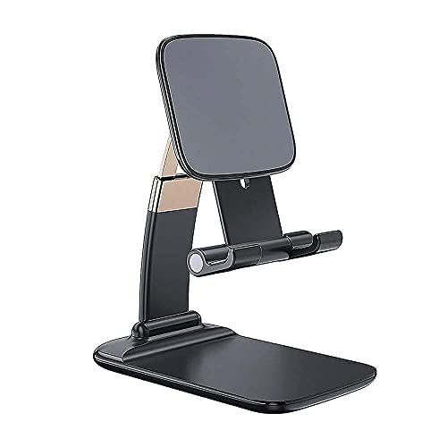 ENVOUS Adjustable and Foldable Desktop Phone Holder Stand for Phones Compatible with All Mobile Phone/iPad/Tablets for Desk, Bed, Table, Office, Video Recording, Home & Online Classes – (Black)