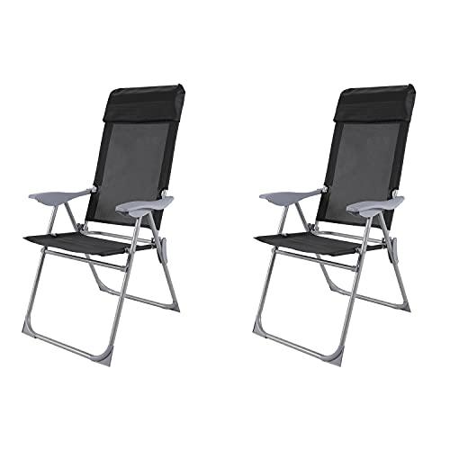 Mojawo 2'er Set Camping Sessel Klappstuhl Hochlehner 5-Fach verstellbar klappbar Klappstuhl pulverbeschichtet Aluminium schwarz