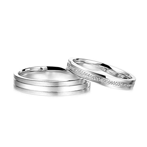 Daesar Platinum Rings for Women and Men Couple Ring Set Round with 0.04ct Matching Diamond Rings for Couples White Gold Rings Women Size J 1/2 & Men Size X 1/2