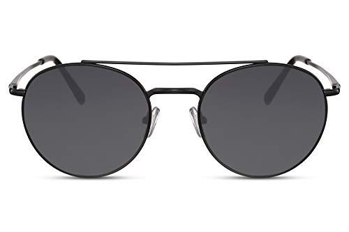 Cheapass Gafas de Sol Redondas Negras Metálicas Puente Doble con Cristales Negros Protección UV400 Hombre Mujer