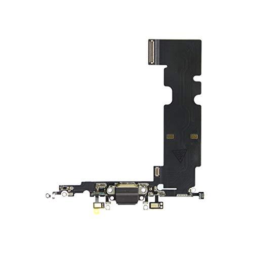 OnlyTech - Conector de Carga de Repuesto Compatible con iPhone 8 Plus + - Dock de Repuesto con Cable Flex, Micrófono y Antena. Color Negro