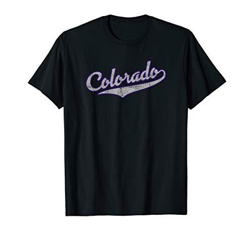 Colorado Retro Baseball Script Design (Distressed)- Colorado T-Shirt