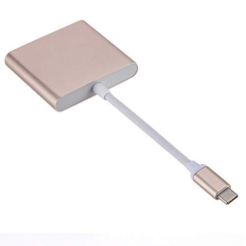 YLHXYPP USB C a USB 3 en 1 convertidor de Cables para USB 3.1 Thunderbolt 3 teléfonos para monitorear Tipo C a Cable Adaptador HDMI 4K 1080p