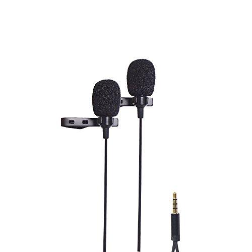 Riqiorod Dual Lavalier Microphone, Lapel Interview Clip-on Mini...