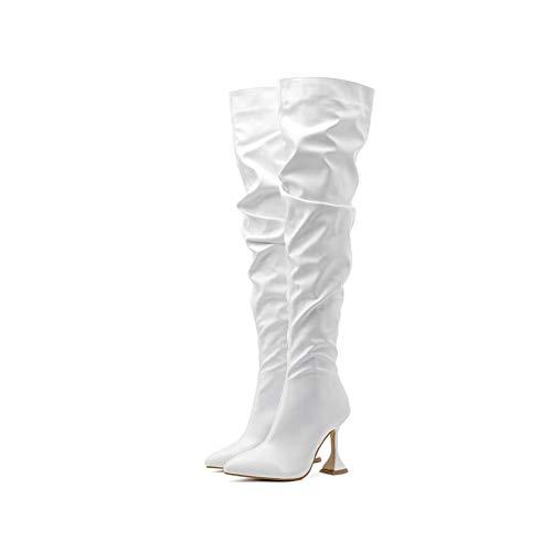 Damenstiefel Über Dem Knie High Heels Absatz, Stiletto-Overknee-forStiefel, Damen-Fersenstiefel Mit Spitzen Zehen Und Langen Stiefeln Mit Hohen Absätzen (Color : White, Size : 36 EU)