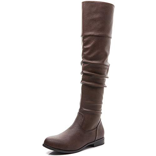 Savaii Women's Aimee Round Toe Low Heel Knee High and Up Boots(11,Brown)