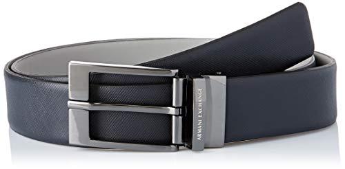 ARMANI EXCHANGE Leather Belt with Plaque Cintura, Blu (Blue/Navy/Grey 51635), No Aplica (Taglia Produttore: TU) Uomo